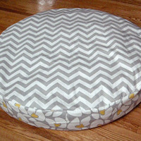 """30"""" Round Small Dog Bed Cover - Yellow Chevron Dog Bed Covers - Made to Order"""