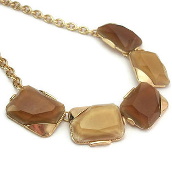 1990s Tan and Brown Faceted Necklace 18 to 20 inch Adjustable Gold Tone Chain - Geometric Rectangles - Vintage Plastic or Lucite Cabochons