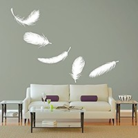 Wall Decal Vinyl Sticker Decals Art Decor Plumage Feathers Style Falling Feather Peacock Living room Dorm Bedroom Modern Fashion (r1299)