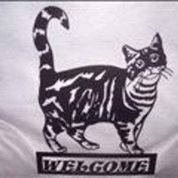 Welcome Sign Tabby Cat Metal Wall Art Home Decor
