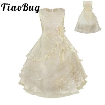 Tiaobug Embroidered Flower Girls Dress Kids Pageant Party Ball Gown Prom Princess Bridal Lace Formal Occassion Long Dress 4-14Y