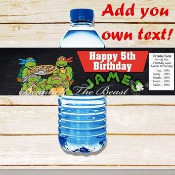 Customized Personalized Ninja Turtles Bottle Water Labels Wrappers Birthday Party Decorations Kids Party Supplies Candy Bar