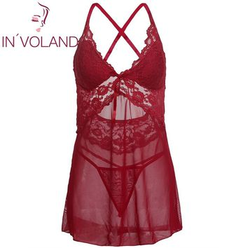 IN'VOLAND Large Size Women Sexy Nightgowns Dress Sleepshirts Lingerie Padded Lace Mesh Babydoll Chemise Sleepwear Plus Size
