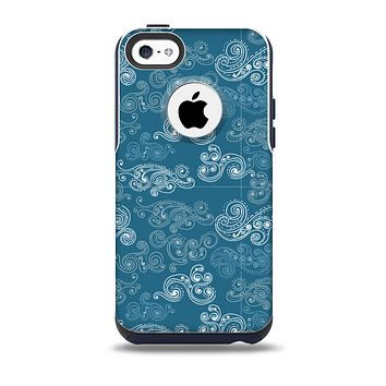 The Seamless Blue and White Paisley Swirl Skin for the iPhone 5c OtterBox Commuter Case