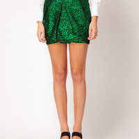 ASOS Premium Folded Mini Skirt in Spot Print at asos.com