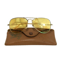 Vintage Ray Ban Aviator Sunglasses with Original Retro Case, Mid Century Fashion