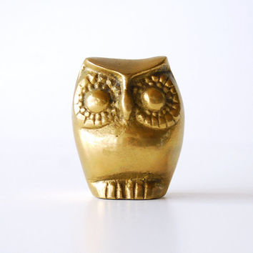 Vintage Brass Owl Figurine 2 Inches Tall Roly Poly