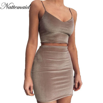 2017 New Brand mini velvet Dresses Women 2 pieces Pink bandage Dess Casual short vestidos High quality matieral drop shipping