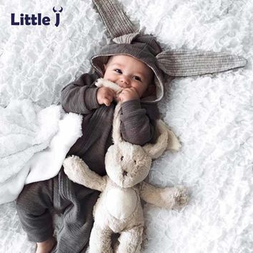 8984f19b8fb Little J Baby Warm Bunny Ear Rompers Autumn Winter Infant Rabbit