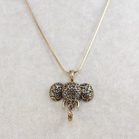 Gold Retro Elephant Pendant Necklace