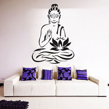 Buddha Wall Decal Lotus Yoga Vinyl Stickers Namaste Home Bedroom Interior Design Living Room Decor Meditation Yoga Studio Art Murals KY139
