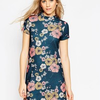 ASOS High Neck Mini Dress in Textured Floral Print