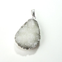 White Druzy Drusy  Edged Dipped  in Silver Drussy Druzzy Drusy Stone Pendant With Loop Pick Your Favorite