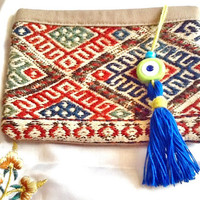 SALE-- GYPSY BAG -bohemian bag -Turkish Kilim bag -ethnic vintage Kilim bag -middle eastern bag