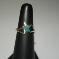 Size 7.5 Turquoise Star Vintage Sterling Silver Ring Size 7.5 - free ship US