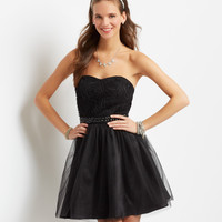 Aeropostale  Rose Jeweled Strapless Dress - Black, 00