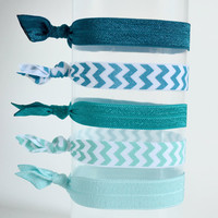 Elastic Hair Ties  Aqua Teal and Chevron Oh My  by PoofyCheeksShop