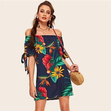 Off The Shoulder Floral Print Knot Cuff Dress Boho Straight Dress Short Sleeve Shift Women Dress
