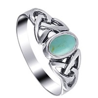 Gem Avenue 925 Sterling Silver 7mm Reconstituted Turquoise Celtic Knot Ring