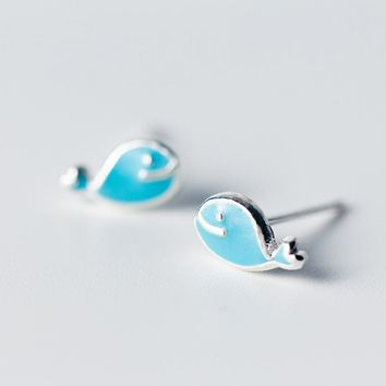 925 Sterling Silver very unique Tiny  Blue Cetacean Whale Stud Earrings For Girls 5mmX8mm