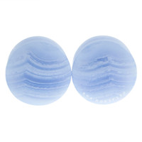 "3/4"" (19mm) Flat Blue Lace Agate Stone Plugs #6530430"