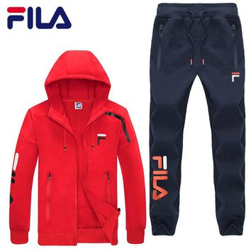 FILA autumn new round neck sweater trousers sports suit two-piece Red