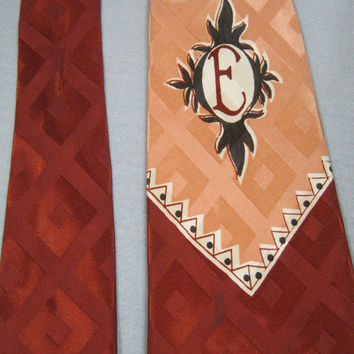 "Vintage 40s 50s INITIAL ""E"" Monogram Swing Era Rayon TIE Necktie  Hipster"