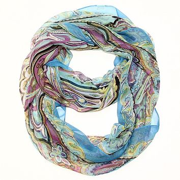 Silk Feel Dream Infinity Scarf - Teal