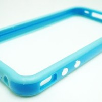 Bumper Case for Apple iPhone4 - Bumper with buttons for volume and power - Blue