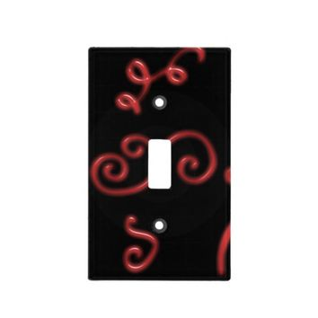 Black and red light switch cover