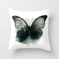 Double Butterfly Throw Pillow by Cafelab