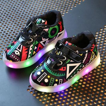 Tribal Art Light Up Sneakers | Kids Light Up Shoes | LED Junior's