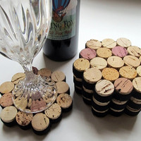 Honeycomb Wine Cork Coasters With Black Ribbon-Set of Four - Wedding, Hostess Gift, Housewarming, Eco Friendly Home Decor