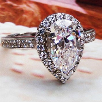 Art Deco 2 Ct Pear Cut lab made Diamond Halo setting Promise Engagement Wedding Cocktail Ring w gift box - made to order ( FairyParadise )