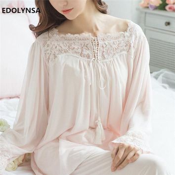Lace Pajama Sets 2017 Long Sleeve Sleepwear Sexy Women Character Home Wear Vintage Indoor Clothing Pyjamas For Women #H324