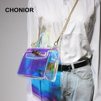 2017 Summer Autumn Women Beach Bag Clear Transparent Bags Hologram Handbags Pouch Famous Brand Waterproof Shoulder Tote Bags