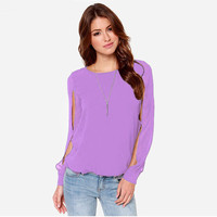 Bishop Sleeve Cut-Out Blouse