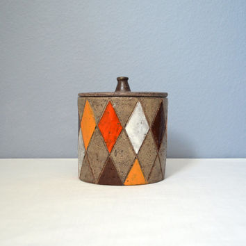 Mid Century Bitossi Harlequin Decor Covered Jar or Canister
