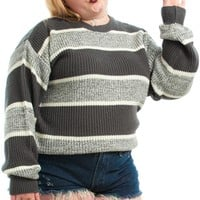 Vintage 90's Are U Gonna Go My Grey Striped Sweater - XL/2X/3X