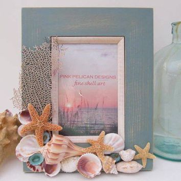 Coastal Treasures Seashell Frame by PinkPelicanDesigns on Etsy