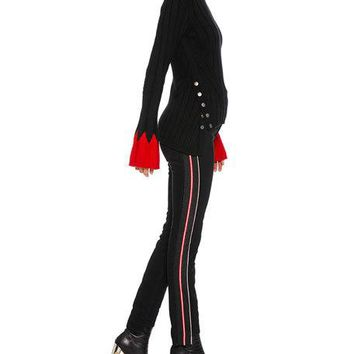 Alexander McQueen Turtleneck Long-Sleeve Contrast-Cuff Wool Knit Sweater and Matching Items