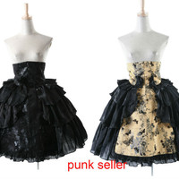 Punk rave Lolita Rock Goth Black Yellow Victorian Priting Floral Highwaist Skirt Evening Dress LQ028