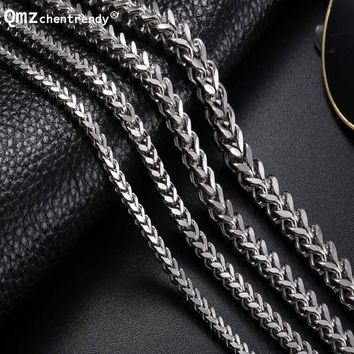Mens Fish Scales Chain Necklace Stainless Steel Silver Tone Vintage Foxtail Box Chain Punk Necklaces 3MM/4MM/5MM/6MM