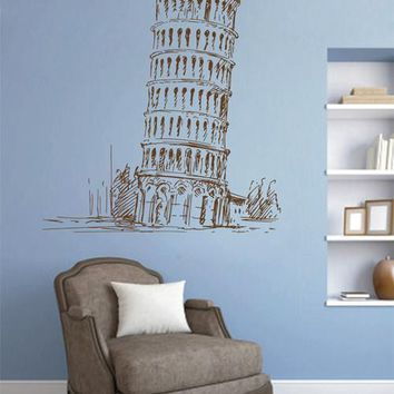 ik2420 Wall Decal Sticker Pisa Leaning Tower Italy living room bedroom Italian restaurant