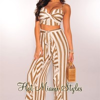 Latté White Striped Padded Ruffle Palazzo Two Piece Set