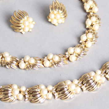 60s Crown TRIFARI Bracelet, Earrings & Necklace SET / Gold, Pearls, Rhinestone Grand Parure