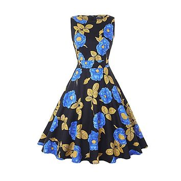 Vintage Inspired Cocktail Dress, Blue Peony, Sizes Small - 2XL