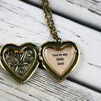 Heart Locket, Ed Sheeran You're My Little Bird Lyric Necklace, Romantic Heart Locket, Valentines Day Locket