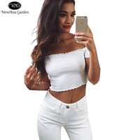 High Elasticity Short Sleeve Strapless Frill Trim Off Shoulder Women Cotton T-Shirt Ruffles Girl Crop Top New Summer Short Tees
