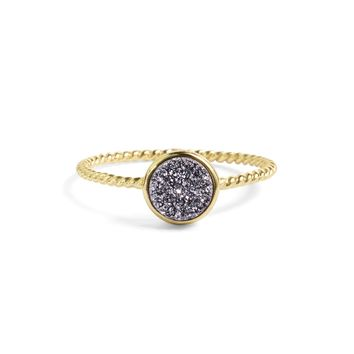 Tiny Silver Druzy Stacking Ring